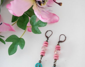 Pink and Turquoise Peace Dangle Earrings (AB shine)