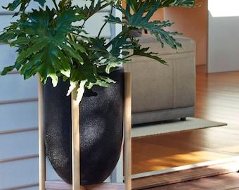 Large pot planter with timber legs - Eva series - BLACK TERRAZZO