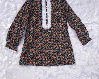 Kid's Vintage Floral Dress, Seventies Kid's Dress, Girl's Print Dress, Size Small