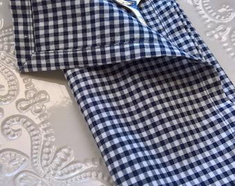 Blue Gingham Cloth Napkins, Blue & White Gingham Dinner Napkins, Blue Checkered Napkins, Picnic Napkins, Father's Day, Patriotic Decor