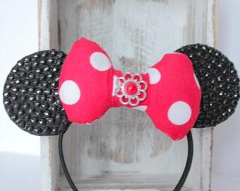 Minnie Mouse Headband, Red Minnie Headband, Minnie Headband, Minnie Costume,Minnie Mouse Ear Headband,Minnie Ears , Minnie Birthday Headband