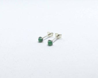 Emerald earrings, 925 sterling silver and natural emerald studs, real emerald studs, natural emerald earrings, dainty studs, tiny studs