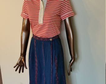 60s Polo. Shirt. Top. Red White Stripe. Preppy. Butterfly collar. Preppy.  Cotton. Size small