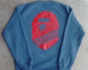 Adidas x Bape Crewneck Adidas x Bape Bootleg Sweater Adidas Vintage Sweater Bape big print Crewneck Sweater