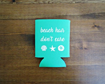 Beach Hair Don't Care Beverage Insulator // Choose Your Color