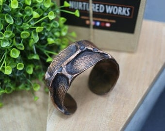 Hammered Air Chased Copper Cuff Bracelet