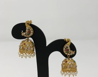 Indian Jhumki Jhumka Earrings - Indian Jewelry - Temple Jhumka Earrings - Bollywood Earrings - Indian Bridal Jewelry - Kundan Jewelry