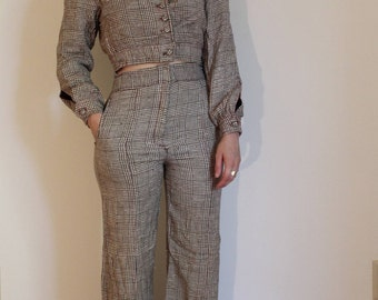 High waist bellbottom and cropped jacket set, brown and white houndstooth, 1970s, menswear, small, cotton blend, pockets