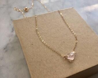 Rose quartz Necklace - pink quartz crystal - pink gemstone Necklace - Gold filled - Sterling Silver - crystal jewelry - Gift for her