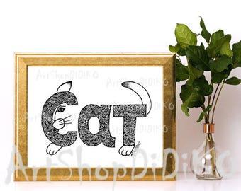 Word Cat Digital Print, Cat patterns, Funny Cat Print, Zentangle Digital Paper, Fabric Patterns, Cat Decor Patterns, Designer Cat Print,