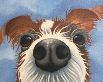 """wire haired jack russell painting """"Peanut"""""""