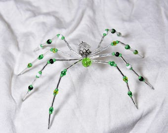 Green Beaded Spider