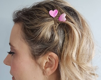 Heart Hairpin (1)   Ombre Pink Bobby Pin   Reversible Hair Adornment   Polymer Clay