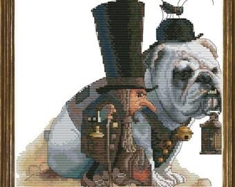 A Gnome with an English Bulldog