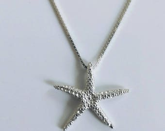 Big starfish necklace silver starfish necklace starfish charm silver starfish pendant