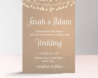 Modern Wedding Invitation Printable, Kraft Paper Wedding Invitation, Instant Download, String Lights, Rustic, Digital Wedding Invitation