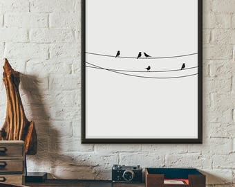 Birds, black and white printable, wall art, digital prints, illustration poster, wall décor