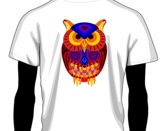 Mr. Owl Shirt | Trippy Owl T Shirt | Handmade Custom T Shirt | Trippy Animal Clothing from Boulder Colorado | FU Collective