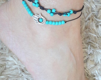 Anklets set, turquoise anklet, Hamsa hand anklet, Adjustable, foot bracelet, Gift, beach, summer jewelry, Bohemian, Protection, luck anklet