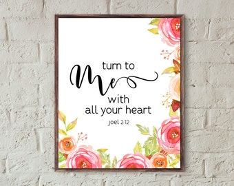 bible verse wall art for home bible prints turn to me with all your heart christian home decor printable quotes instant download scripture