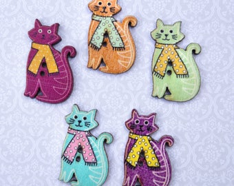 Cat buttons in the vintage style.