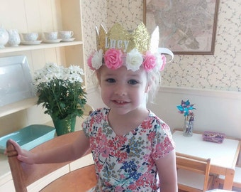 Personalized Princess Gold Floral Crown, Princess Birthday Crown, Floral Birthday Crown, 5th Birthday, 2nd Birthday, Queen Crown, Girl Crown
