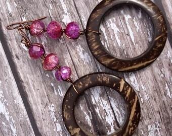 Hoop Earrings, Long Earrings, Pink Earrings, Brown Earrings, Round Earrings, Unique Earrings For Women, Boho Earrings, Shell Earrings