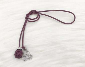 Monkey Fist Knot Leather Bookmark with Dangling Silver Bling Clover for your Traveler's Notebook, Planner, or Book
