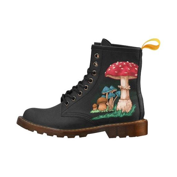 Boots femme champignons art amanite tue mouche peinture for Peinture anti mouche
