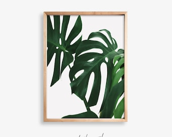 Monstera Leaf Printable Art, Palm Leaf Print, Tropical Print Wall Art, Monstera Print, Scandi Printable, Scandi Print, Botanical Prints