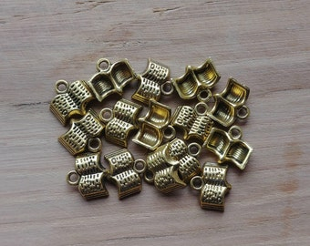 15 x Zinc Alloy Gold Book Charms for Jewellery Making