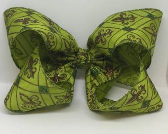 Mardi Gras hair bow
