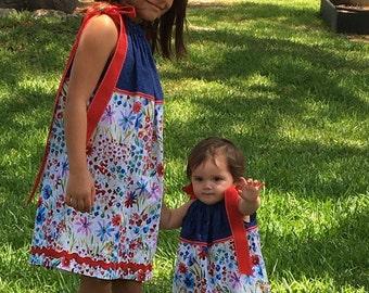 "Multi Sizes Blue Floral pillowcase ""sister"" dress"