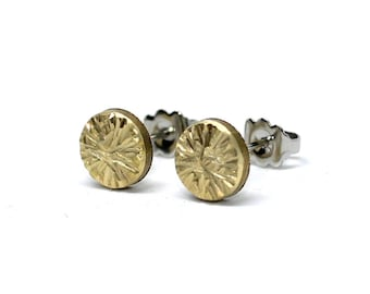 Round Stainless Steel Earrings - Semicircle Golden Brass hammered