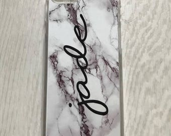 Personalised Marble phone case - white marble, name, initials, phone gift, phone case, iphone case, personalized phone cover, marble effect