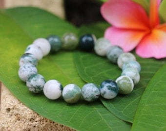 No. 25 Moss Agate Stretch Bracelet