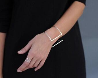Geometric Cuff Bangle Bracelet Double Bar Bracelet Minimalist Sterling Silver Handmade Bracelet Geometric Bracelet 925 Silver Cuff Bracelet