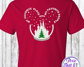My Favorite Place With My Favorite People Disney Christmas Glitter Shirt