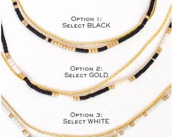 Delicate Gold Chain & Beaded Wrap Bracelets Δ Customized Friendship Bracelet Δ Bridesmaid Gift Δ Best Friend Gift ΔSimple 16K Gold Bracelet