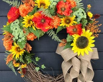 Summer Wreath/ Front Door Wreath/ Sunflower Wreath/ Initial Wreath/ Fall Wreath/ Farmhouse Wreath/ Cottage Wreath/ Country Wreath