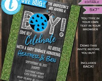 Lovebug Baby Shower Invitation Baby Sprinkle Baby Boy Invite Blue It's a Boy Chalkboard Template Custom Printable INSTANT Self EDITABLE 5x7