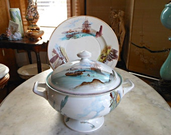 Fischer & Mieg Soup Tureen and Underplate - Rare Ship Scenes - Stunning Bohemia - 1800s - Antique Dining - Gilt - Home Decor