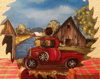 Hand painted saw blade Classic red truck, old red truck and barn, old red truck and covered bridge