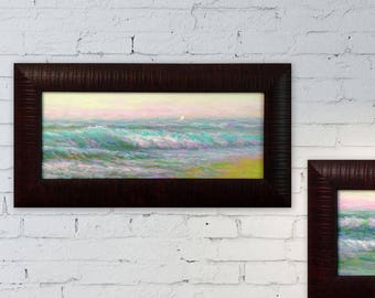 Original artwork oil painting sea 7X15 framed seascape ready to hang wave home Living Room Bedroom Hall Wall Decor realistic art