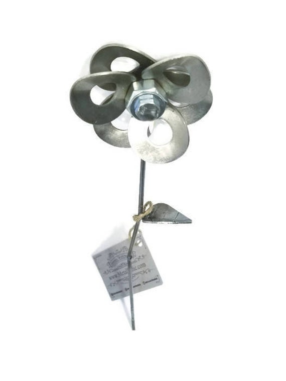 Metal Steel Flower created by Welding Scrap Metal Washers, Nuts and Bolts Steampunk Style making Unique Gifts and Modern Rustic Home Decor!
