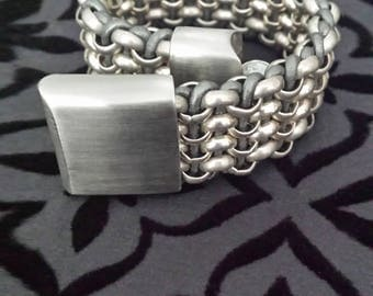 Chain and Leather Bracelet with Magnetic Lock