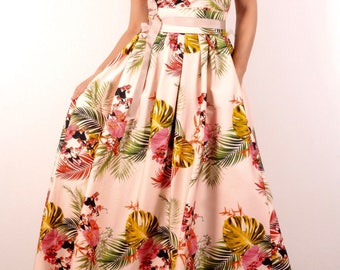 Long Dress With Flowers On Gentle Background