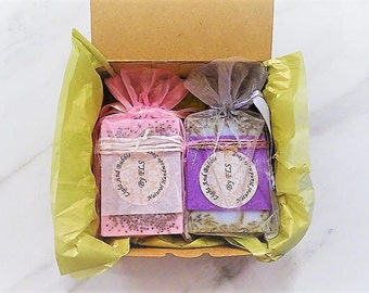Soap gift set box - Duo - Lavender and Chia seeds, coconut
