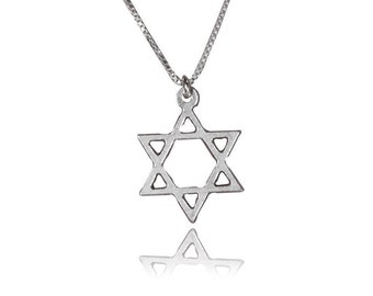 Jewish cross necklace star of david necklace from israel simple star of david necklace David star necklace Jewish star necklace delicate