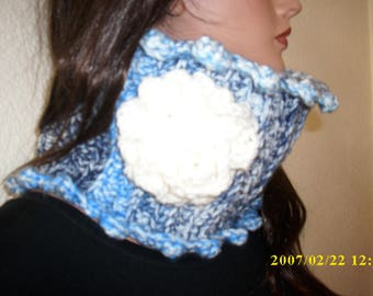 crochet freeform neck warmer chunky cowl scarf with rose, only one available in blue and white